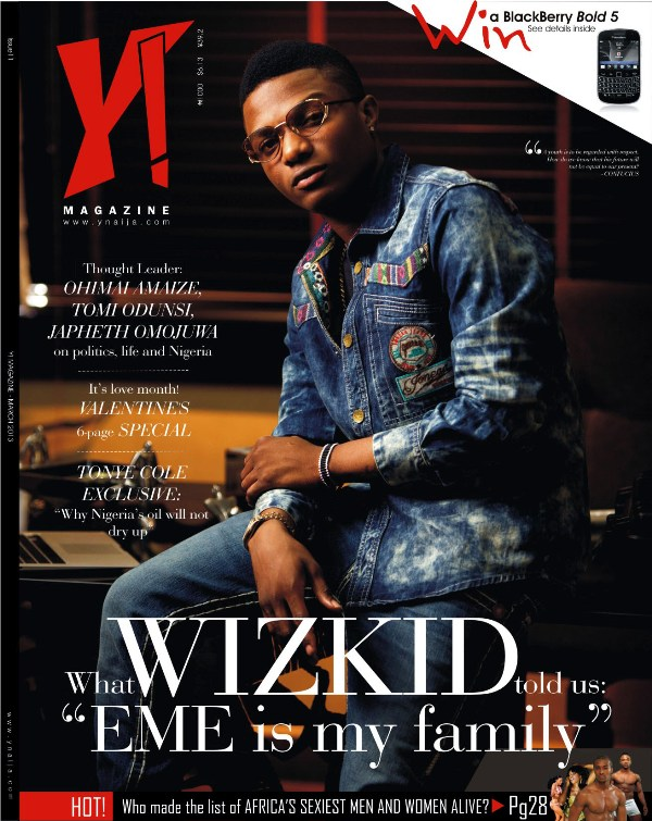 Starboy Wizkid covers all new Y! Magazine March 2013 Issue