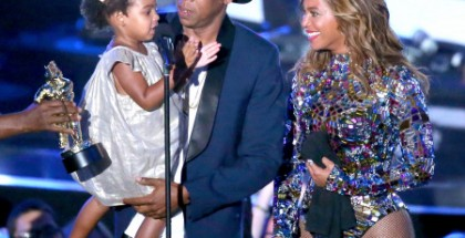 Blue Ivy Carter, Jay-Z and Beyonce onstage during the 2014 MTV Video Music Awards. (credit: Mark Davis/Getty Images)