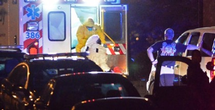 Ebola victim Amber Vinson is helped from an ambulance after arriving at Emory University Hospital in Atlanta on Wednesday. Photograph: David Tulis/AP