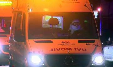 An ambulance carrying a Spanish nurse who has contracted Ebola arrives at a hospital in Madrid on October 7. (Reuters)
