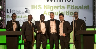 2nd left-3rd right: Vincent Eromosele (Head-Legal Services), Seun Oshitade (Head-Strategy) and Philip Rhys (Group Chief Commercial Officer-IHS Africa) receiving the award